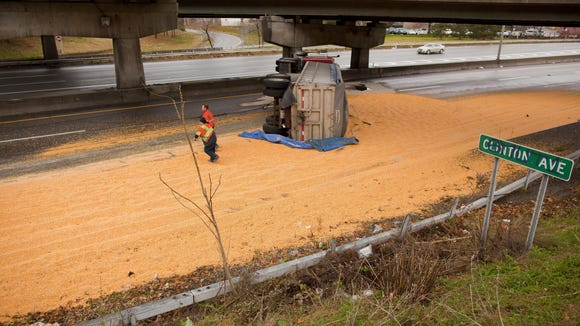 In late November 2010, a tractor-trailer tipped over and dumped a load of corn, closing westbound I-490 just west of the Goodman Street exit.