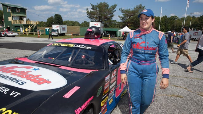 Emily Packard prepares for the the 37th annual Coca-Cola Labor Day Classic 200 on Sept. 6 at Thunder Road in Barre.