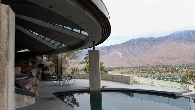 """The Elrod House was built in 1968 and designed by Architect John Lautner for interior designer Arthur Elrod. The nearly 9,000 square foot home has five bedrooms, five and a half bathrooms, an infinity pool, and a 60-foot-wide circular living room.The home is best known for its role in the 1971 James Bond movie """"Diamonds are Forever."""""""