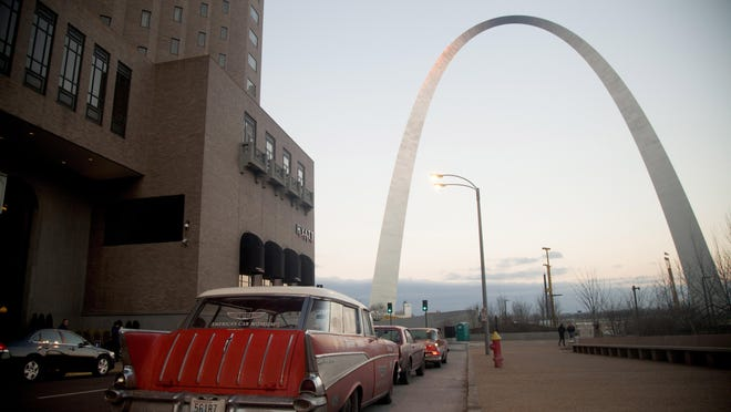 """Detroit News auto critic Henry Payne rode with the """"Drive Home"""" tour's 1957 Chevy, left, 1961 Chrysler and 1966 Mustang from Kansas City to St. Louis."""