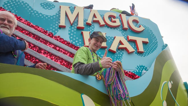 Beads ready to be tossed from the Magic Hat float.