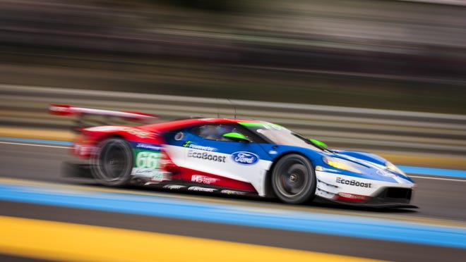 Ford GT testing at the Le Mans race track.