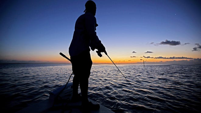 Sunset fishing in the Everglades.