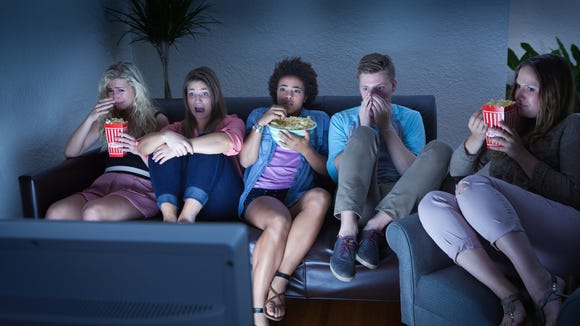 Friends Watching Scary Halloween TV Show Together