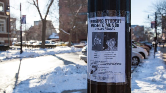 Vicente Mundo missing student signs posted on the U. of Illinois campus (Walbert Castillo/USA TODAY College)