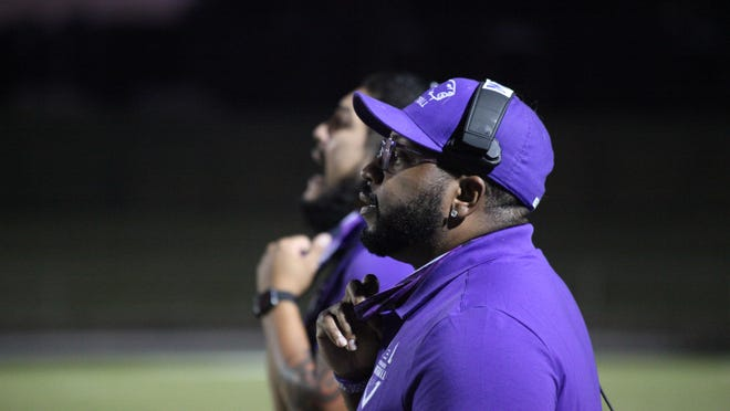 Achieve head coach Mackee Mason looks on as the Polar Bears tussle with Eastside Memorial last Friday. Achieve defeated the Panthers in its first ever game as an 11-man football squad.