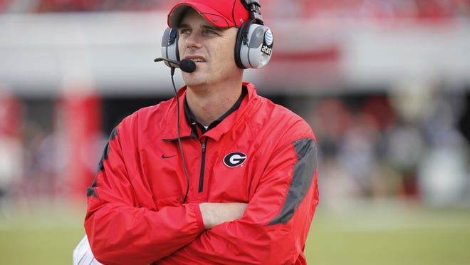 Mike Bobo as Georgia offensive coordinator. (UGA athletics photo).
