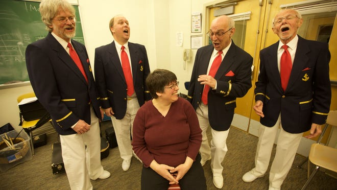 The Red Bank Area Chapter of the Barbershop Harmony Society will provide singing valentines on four dates from Feb. 11 to 14.