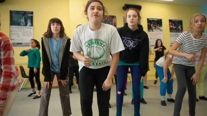 Junior Show Choir members Maya Standard, Sofia Cofino, Lucy Kraus-Cuddy, Mollie Allen at rehearsal on Saturday in the FlynnSpace dance studio, Burlington.