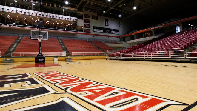The floor at the Fifth Third Arena on the University of Cincinnati's campus.