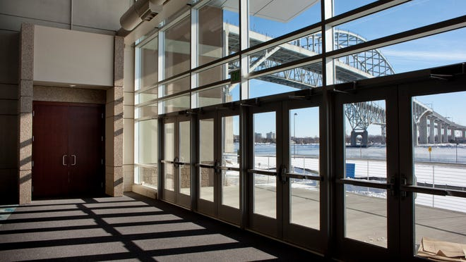Doors from the main hallway lead to an observation deck at the Blue Water Area Convention Center. Construction of the center is about 95% complete.