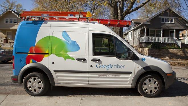 A Google Fiber installation truck.