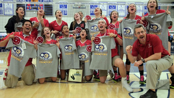 Palm Springs volleyball celebrate their straight sets win over Windward to become the 2014 CIF Division 2A Southern Section champions on Saturday, November 22, 2014 in Cerritos, CA.