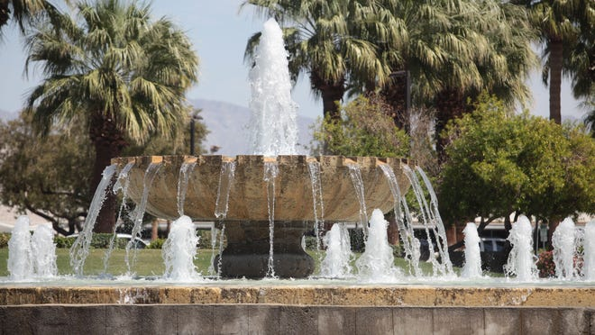 The large fountain at the entrance to the Palm Springs International Airport on Tuesday.