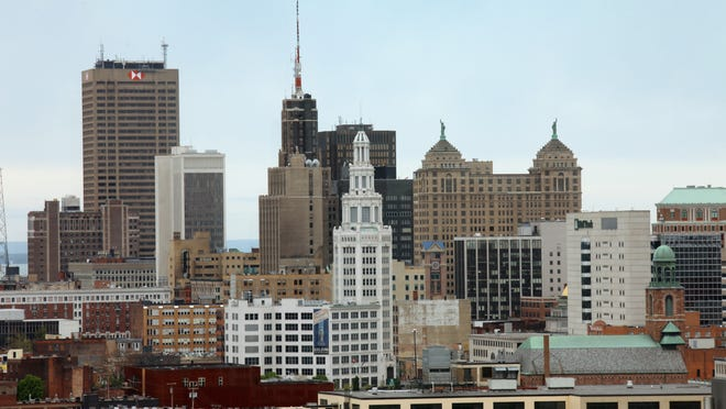 The Buffalo skyline photographed from the Roswell Park Cancer Institute.