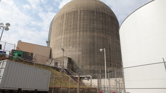 A structure which houses part of the spent fuel pool for Indian Point 3 is seen at left, attached to the reactor dome at the Indian Point Nuclear Generating Station in Buchanan.