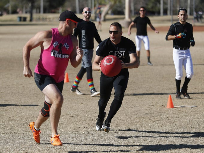 Bromosas' Jeremy Balentine (in black) chases down The