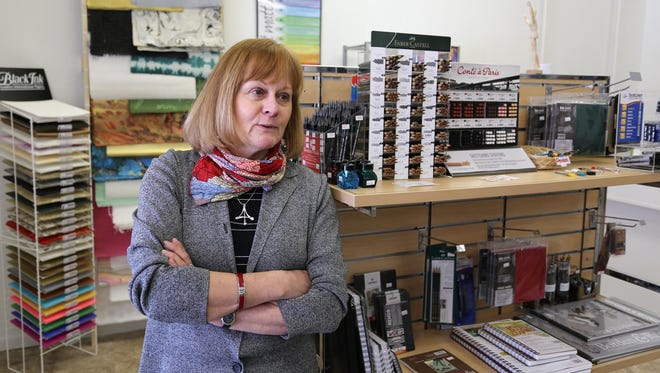 Cindy Hoeper, owner of Lakeshore Art Supplies talks about the path she took in opening her business Friday April 22, 2015 in Sheboygan.
