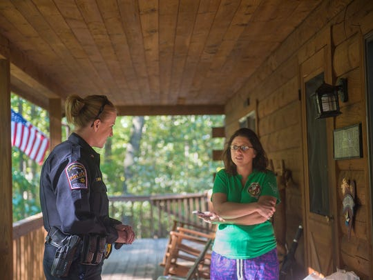 Officer Holly Rowland of Southwestern Regional Police Department talks with a woman during a shift in 2016. Half of the population is women, so it makes sense that the police department represents the community it serves, said Lisa Layden, who is a detective with Southwestern Regional Police Department in York County.