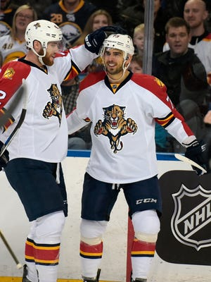 The Florida Panthers'  Brandon Pirri, right,  celebrates a goal against the Buffalo Sabres on Feb. 9, 2016, in Buffalo, N.Y.
