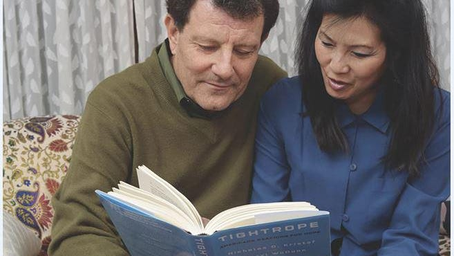 Husband and wife Pulitzer winners Nicholas Kristof and Sheryl WuDunn.