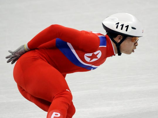 Un Song Choe of North Korea in action during the men's 1500 meters short track speedskating event in the Gangneung Ice Arena at the 2018 Winter Olympics in Gangneung, South Korea, Saturday, Feb. 10, 2018. (AP Photo/Bernat Armangue)