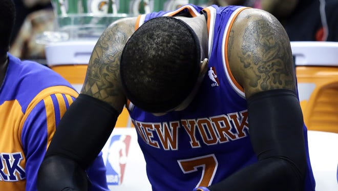 Carmelo Anthony during the second half of the Knicks' loss in Portland.