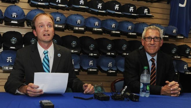 Asheville Tourists president Brad DeWine announces that his team will host the 2015 South Atlantic League All-Star game on Wednesday.