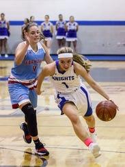 Oak Creek senior Haley Zylka (1) breaks past Arrowhead's