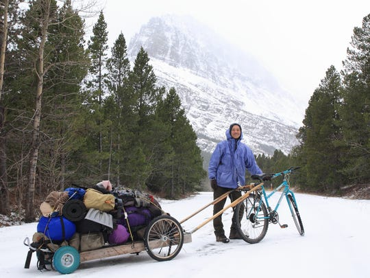 Sumio Harada heads out on a wintery day to film mountain