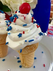 Patriotic cupcake cones are easy to make with store-bought