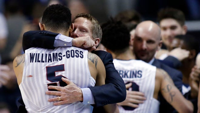 Gonzaga coach Mark Few hugs guard Nigel Williams-Goss in the closing minutes of a win over Xavier on Saturday that gave the Bulldogs their first Final Four berth.