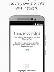 Android to iPhone transfer completed.