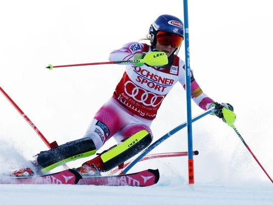 U.S.A.'s Mikaela Shiffrin was the first competitor