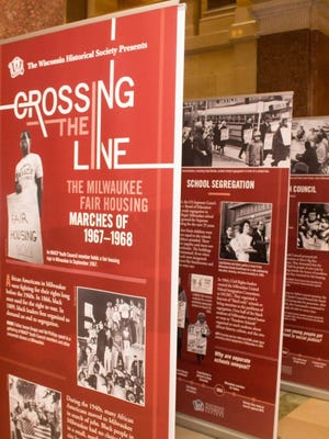 "The traveling display ""Crossing the Line: The Milwaukee Fair Housing Marches of 1967-1968"" was set up in the Wisconsin's Capitol rotunda for Martin Luther King Day on Jan. 16. The display created by the Wisconsin Historical Society will be traveling throughout the state until the end of 2018."