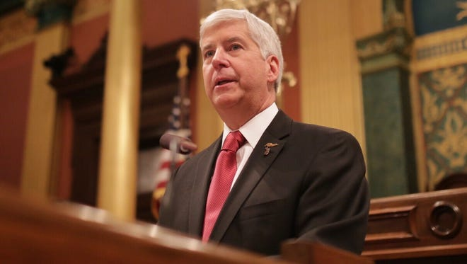 Governor Rick Snyder addresses the Flint water crisis during his State of the State speech on Tuesday in Lansing.