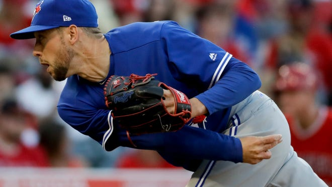Delone Catholic High Schoiol graduate Casey Lawrence is seen here throwing for the Toronto Blue Jays in 2017. Lawrence has rejoined the Blue Jays organization and has been assigned to the organization's Triple-A franchise.