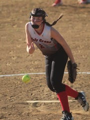 Holy Cross junior Kaitlin Turner pitches during the
