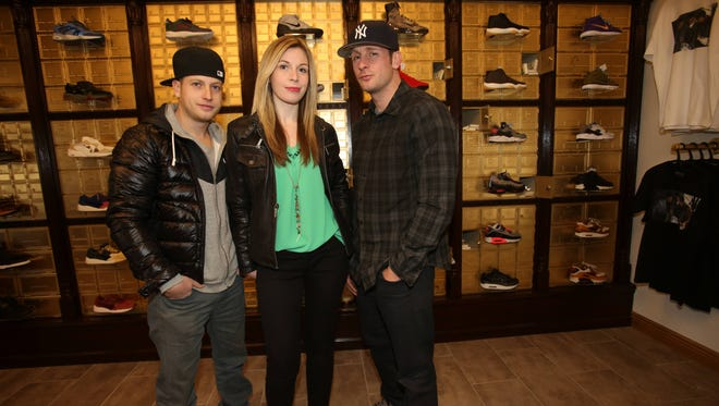 Siblings Arik Abrams, left, Alisa Abrams and Tyler Abrams recently opened Heist NY, a sneaker lounge in White Plains, seen Jan. 12.