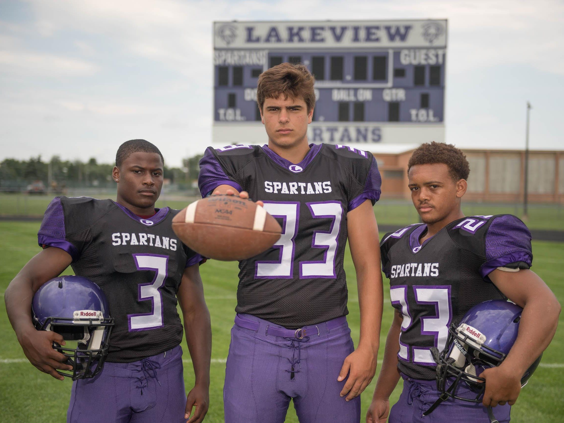 The 2016 Lakeview Spartans will be led by senior returners, from left, Jay'Vion Settles, Michael Miller and C.J. Foster.