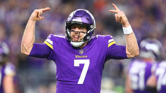 Minnesota Vikings quarterback Case Keenum (7) celebrates after a touchdown by running back Latavius Murray (not pictured) against the New Orleans Saints in the second quarter of the NFC Divisional Playoff football game at U.S. Bank Stadium.