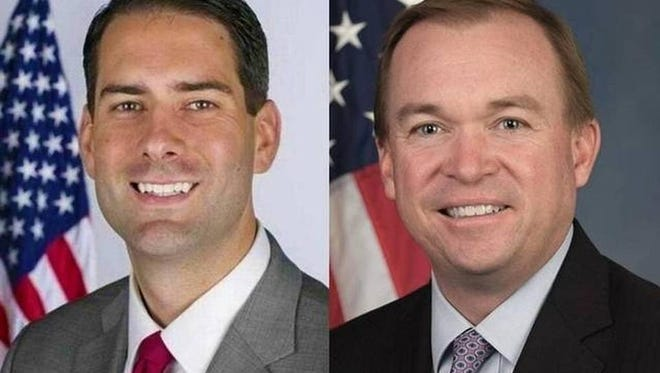 Fran Person, left, and Mick Mulvaney