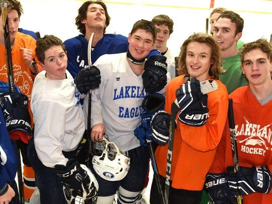 Lakeland High varsity hockey player Jared Behmlander
