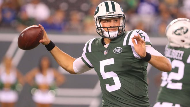 Aug 31, 2017; East Rutherford, NJ, USA; New York Jets quarterback Christian Hackenberg (5) throws a pass during the second half of their game against the Philadelphia Eagles at MetLife Stadium. Mandatory Credit: Ed Mulholland-USA TODAY Sports