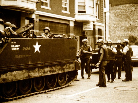 Armored vehicles were a common sight on the streets of York in the 1969 race riots after the National Guard was called in.
