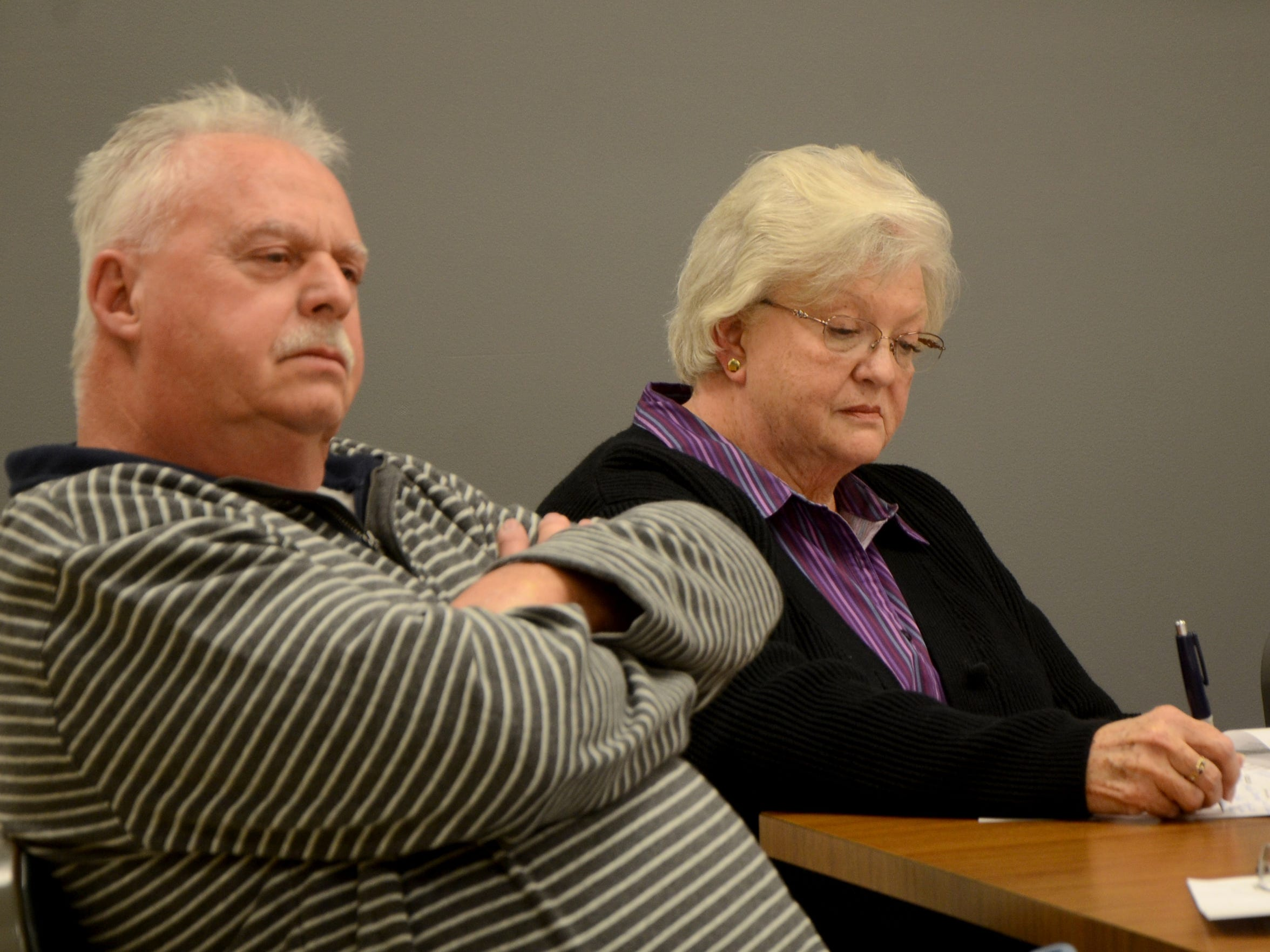 Bedford Township board trustees Connie Gibson, left,