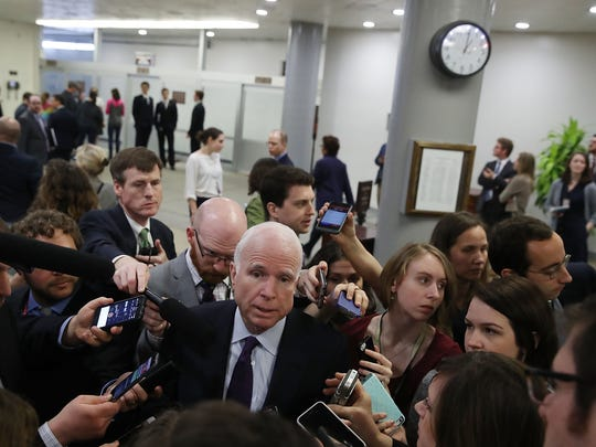 Sen. John McCain, R-Ariz., speaks to reporters before