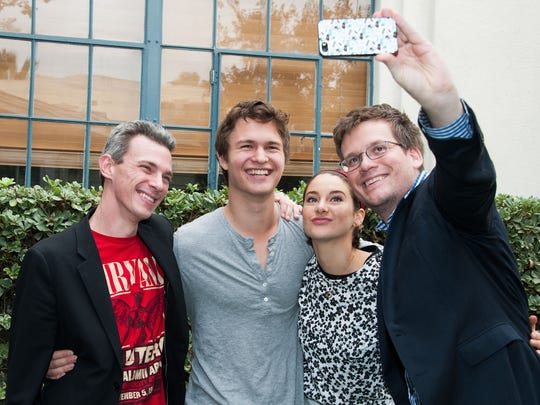 "Josh Boone, Ansel Elgort, Shailene Woodley and John Green attend the Twentieth Century Fox Home Entertainment's ""The Fault In Our Stars"" Reunion And Bench Dedication Ceremony at Fox Studio Lot on November 20, 2014 in Century City, California."