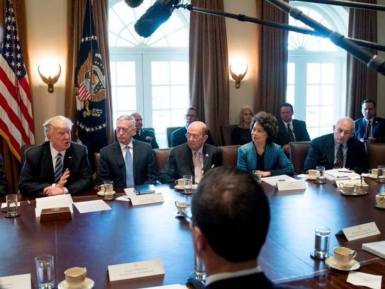 President Trump, Transportation Secretary Elaine Chao