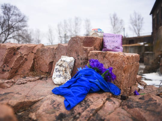 Falls Park Monday, March 19, in Sioux Falls. A memorial for Madison Wallace and Lyle Eagle Tail stands near the area where Maggie Zaiger fell into the river Sunday, March 18, at Falls Park.